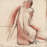 Nudes Drawings Originals - Nude 010 by Edward Henrion