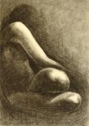 Tasteful Art Prints - Nude 1 Drawing Figure Print by Ezartesa Art