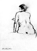 Rear View Drawings - Nude 25 by Peter Anthony DeFeo