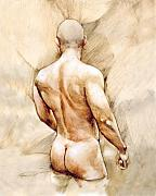 Naked Men Framed Prints - Nude 40  Framed Print by Chris  Lopez