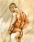 Man Painting Framed Prints - Nude 41 Framed Print by Chris  Lopez