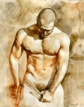 Nude Man Painting Prints - Nude 43 Print by Chris  Lopez