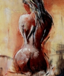Featured Paintings - Nude 4551 by Veronique Radelet