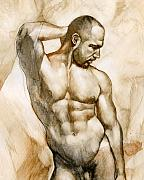 Man Paintings - Nude 46 by Chris  Lopez