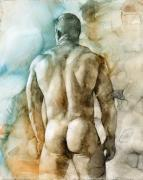 Watercolor Nude Posters - Nude 51 Poster by Chris  Lopez