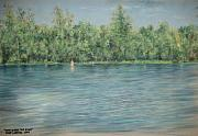 Skinny Pastels Prints - Nude Across The River Print by Larry Whitler
