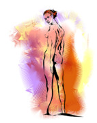 Colourful Mixed Media - Nude by Alex Tavshunsky