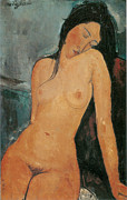 Amedeo Modigliani Framed Prints - Nude Framed Print by Amedeo Modigliani
