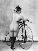 Nude Photograph Framed Prints - NUDE AND BICYCLE, c1885 Framed Print by Granger