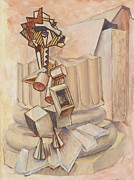 Greek Sculpture Painting Prints - Nude Ascending a Staircase Print by Roger Clark