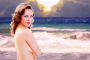 Woman Photographs Prints - Nude Beach Print by Harry Spitz
