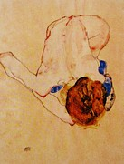 Schiele Drawings - Nude Bending Forward by Pg Reproductions