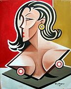 Female Nude Paintings - Nude Bust Female by Martel Chapman