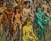 Bodypaint Framed Prints - Nude cyclists with bodypaint Framed Print by Peregrine Roskilly