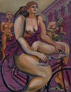 Cyclists Paintings - Nude cyclists with Carracchi Bacchus by Peregrine Roskilly