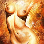 Female Framed Prints - Nude details Framed Print by Emerico Toth