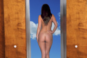 Woman Photographs Prints - Nude Doorway Print by Harry Spitz