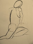 Geometric Shapes Drawings Posters - Nude Drawing 2 Poster by Kathleen Fitzpatrick