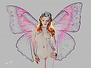 Nude Girl Mixed Media - Nude Fairy Backlite by Tray Mead