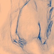 Buttocks Drawings Posters - Nude Female Buttocks Poster by Sheri Parris