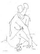 Reclining Female Nude Drawings Posters - Nude-Female-Drawing-19 Poster by Gordon Punt