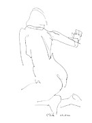 Reclining Female Nude Drawings Posters - Nude Female Drawings 8 Poster by Gordon Punt