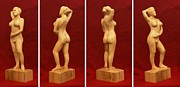 Bass Wood Sculpture Posters - Nude Female Impressionistic Wood Sculpture Donna Poster by Mike Burton