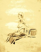 Hip Drawings - Nude Female Seated Looking Away by Sheri Parris