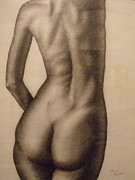 """indoor"" Still Life  Painting Framed Prints - Nude Female Study of Back Framed Print by Neal Luea"