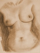 Voluptuous Drawings Prints - Nude Female Torso - PPSFN-0002-in Sepia Print by Pat Bullen-Whatling