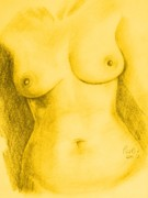 Welsh Artist Prints - Nude Female Torso - PPSFN-0002-in Yellow Print by Pat Bullen-Whatling