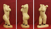 Nudes Sculpture Posters - Nude Female Wood Torso Sculpture Roberta    Poster by Mike Burton