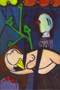 Clown Paintings - Nude Green Leaves Bust and Clown Noses by Ricky Sencion