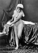 Nude Photograph Framed Prints - NUDE IN BONNET, c1885 Framed Print by Granger