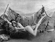 Nude Photograph Framed Prints - NUDE IN HAMMOCK, c1885 Framed Print by Granger