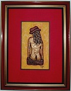Framed Reliefs - Nude in Red Hat by E Dain Mcleod