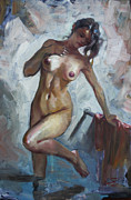 Naked Prints - Nude in Shower Print by Ylli Haruni