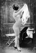 Nude Photograph Framed Prints - NUDE IN STOCKINGS, c1880 Framed Print by Granger