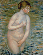 Modesty Posters - Nude in the Water Poster by Pierre Auguste Renoir
