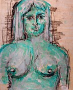 Lavander Paintings - Nude Lavendar Blue by Cj Carroll
