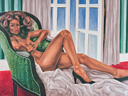Nude Laying On A Green Chair Print by Varvara Stylidou