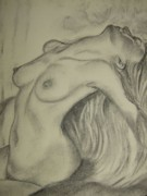 Welsh Artist Prints - Nude-leaning back-001-2880-3840-in Graphite Print by Pat Bullen-Whatling