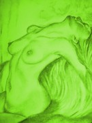 Welsh Artist Prints - Nude-leaning back-001-2880-3840-in Green Print by Pat Bullen-Whatling