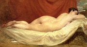 Skin Painting Posters - Nude Lying On A Sofa Against A Red Curtain Poster by William Etty