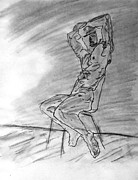 Nipple Originals - Nude Male Seated on Chair by Wall in Watercolor Sketch Painting with Arms Raised Looking Outward by M Zimmerman