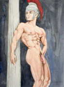 Physique Paintings - Nude male Spartan by The Artist Dana
