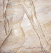 Figure Reliefs Framed Prints - Nude Male Strolling Framed Print by Tina Hariu