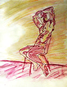 Nipple Originals - Nude Man Sitting on Chair by Wall in Yellow Purple Sketch Watercolor Arms High Gazing Out View by M Zimmerman