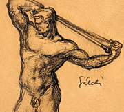 Sepia Ink Drawings - Nude men by Odon Czintos