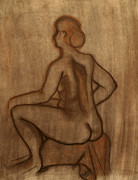 Tan Drawings Posters - Nude Model Drawing Poster by Teri Schuster
